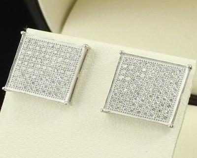 Men/Womens Sterling Silver 925 Square Earrings