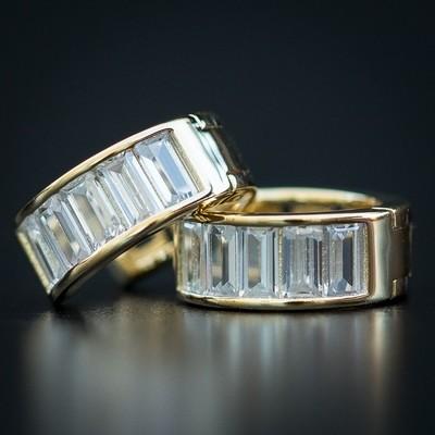 Men's 14K Gold Baguette Diamond Hoop Earrings
