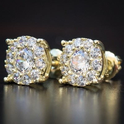 14K Gold Round Diamond Cluster Stud Earrings