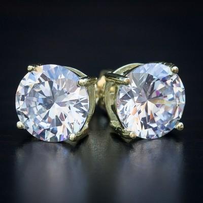 14K Gold Round 4 Ct Diamond Earrings