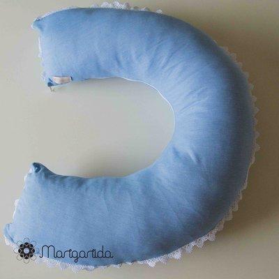 Almofada de Amamentação Azul- com aplicação de guipir