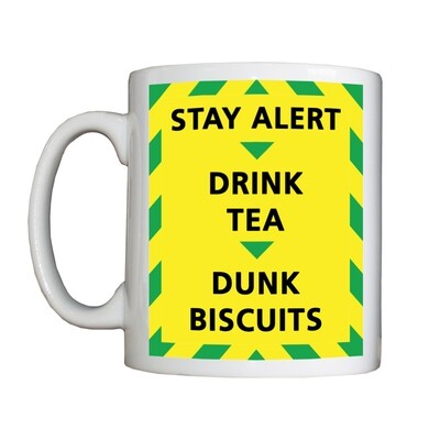 Personalised 'Stay Alert Drink Tea Dunk Biscuits' Drinking Vessel