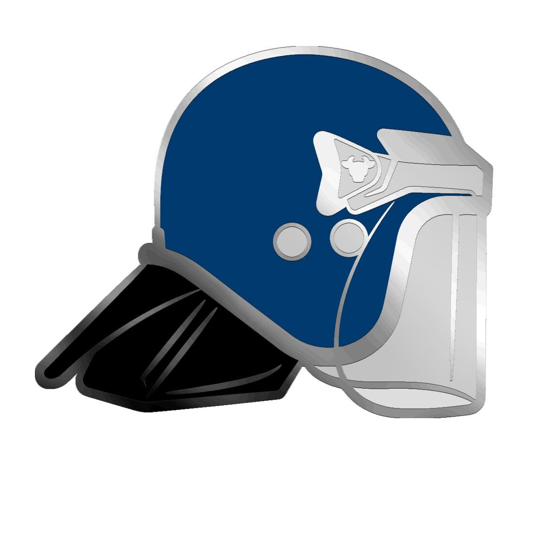 Blue BullHat Pin Badge