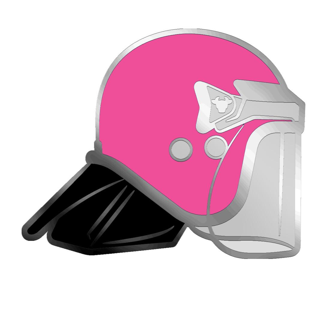 Pink BullHat Pin Badge