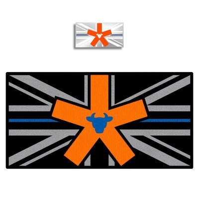 Thin Blue Line Union Flag Firearms BullStar Badge and Patch Combo