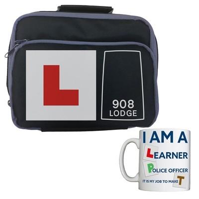 Personalised 'Learner Police Officer' Lunch Bag/Mug Combo