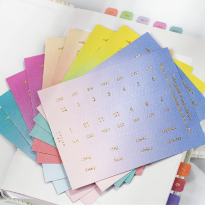 PIPPYPLANS   FOIL MONTHLY PLANNER TABS PASTEL OMBRE