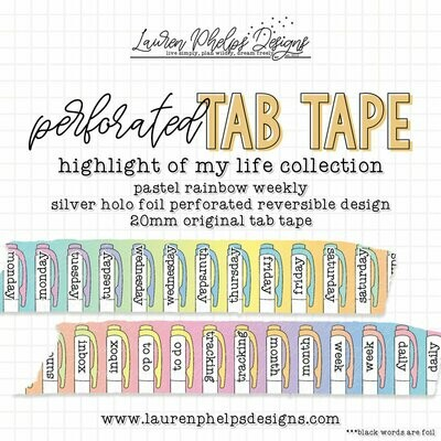 LAUREN PHELPS DESIGNS | HIGHLIGHT OF MY LIFE | PASTEL RAINBOW TAB TAPE