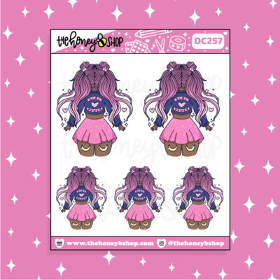 THE HONEY B SHOP | MAGICAL GIRL POWER BABE DOODLE STICKER | CHOOSE YOUR SKIN TONE