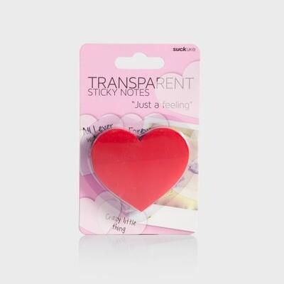 SUCK UK   HEART SHAPE TRANSPARENT STICKY NOTE