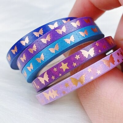 THEHONEYBSHOP | Jewel Tone Baby Bat Bow Perforated Header Washi Tape | (5) 5 MM Tapes | Rose Gold Foil