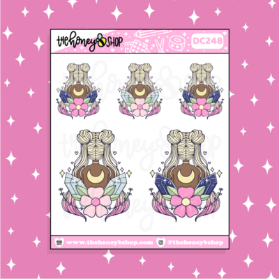 THE HONEY B SHOP |Magical Moon Crystal Babe Doodle Sticker | Choose your Skin Tone!
