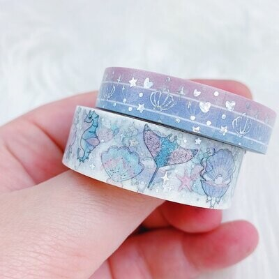 THEHONEYBSHOP | Mer-May 2.0 Washi Bundle | 15 MM + 10 MM | Holographic Foil