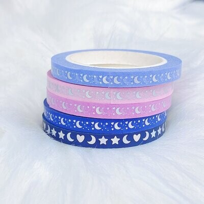 TheHoneyBShop | Fight Like a Girl | Moon Prism Perforated Header Washi Bundle | (5) 5MM Tapes | Holo Foil