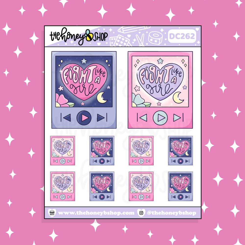 TheHoneyBShop | Fight Like a Girl |Fight Like A Girl Playlist Doodle Sticker