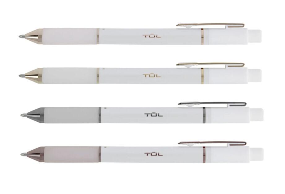 TUL    Retractable Gel Pens, Medium Point, 0.7 mm, Pearl White Barrel, Black Ink