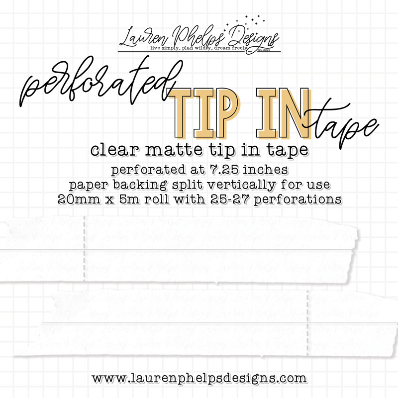 LAUREN PHELPS DESIGNS   CLEAR MATTE PERFORATED TIP IN TAPE, 25MM