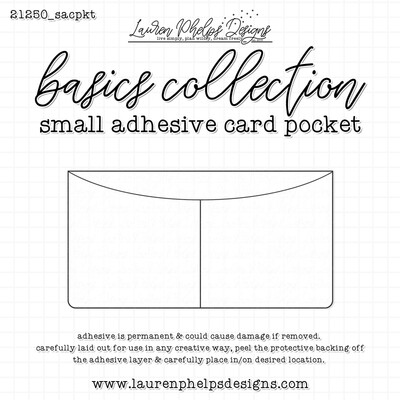LAUREN PHELPS DESIGNS | SMALL CLEAR ADHESIVE 2 CARD POCKET