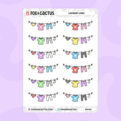 Fox & Cactus   Laundry Line Stickers (F0143)