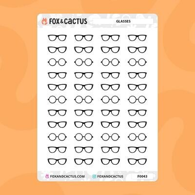 Fox & Cactus   Glasses Stickers (F0043)