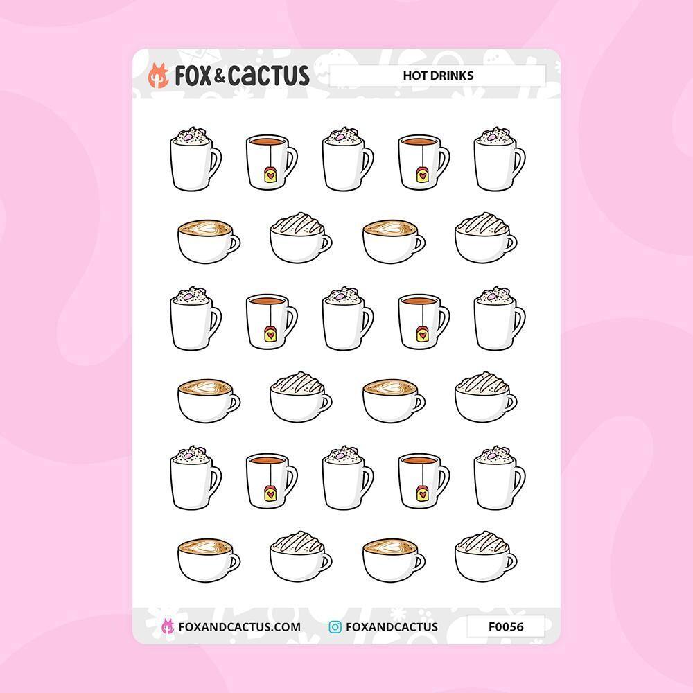 Fox & Cactus   Hot Drink Stickers (F0056)
