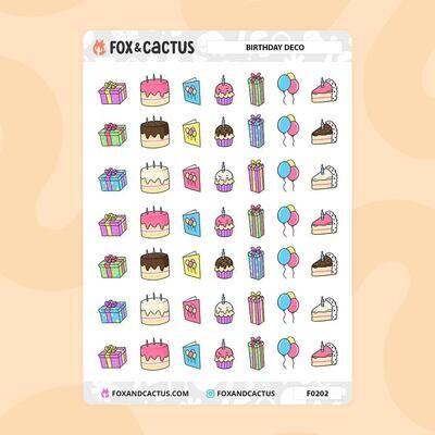 Fox & Cactus   Birthday Deco Stickers (F0202)