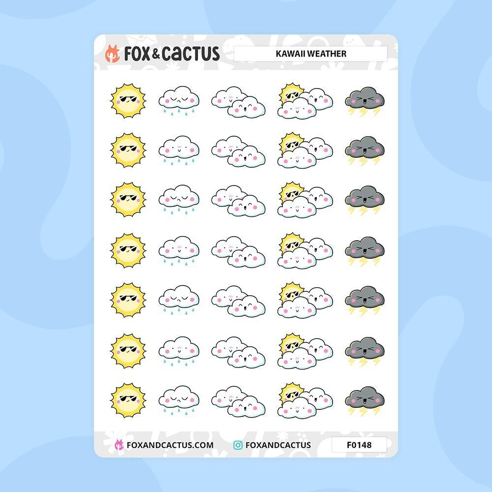 Fox & Cactus | Kawaii Weather Stickers (F0148)Mixed Sheet
