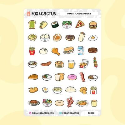 Fox & Cactus   Mixed Food Stickers (F0268)