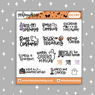 THE HONEY B SHOP |Traditional Halloween Bucket List Doodle Sticker