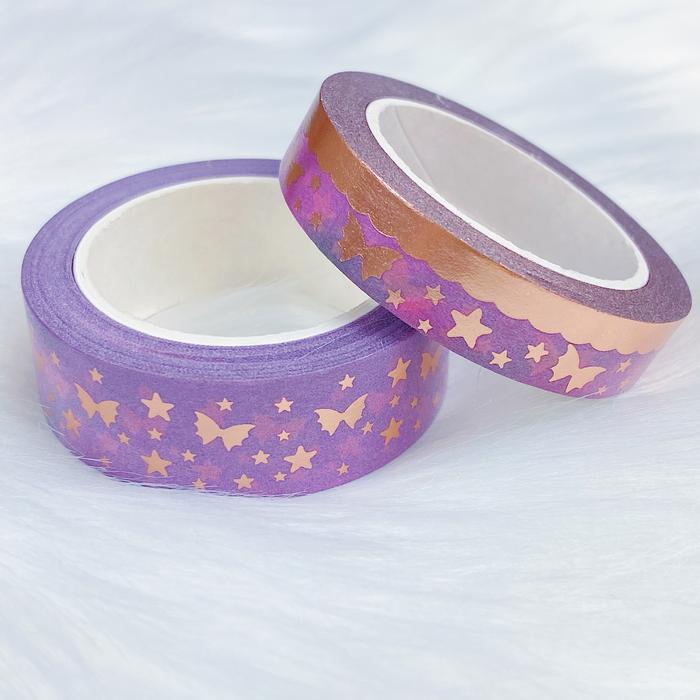 THEHONEYBSHOP | Jewel Tone Specialty Bat Bow Magic Washi Tape Bundle | 15 + 10 MM | Rose Gold Foil