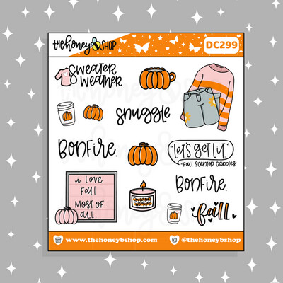 THE HONEY B SHOP |Fall Sweater Weather Deco Doodle Sticker