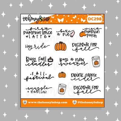 THE HONEY B SHOP |Fall Bucket List Doodle Sticker