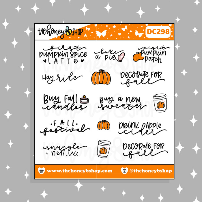 THE HONEY B SHOP  Fall Bucket List Doodle Sticker