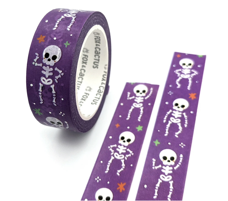 Fox & Cactus |  Dancing Skeletons Washi Tape (Holo Foil)