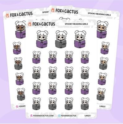 Fox & Cactus   Spooky Reading Kawaii Girl Stickers - LIGHT