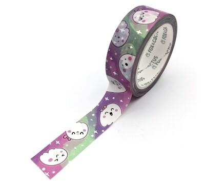 Fox & Cactus   Cutie Ghosts (Aurora) Washi Tape (Holo Foil)