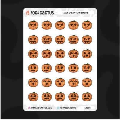 Fox & Cactus   Pumpkin Emoji Stickers