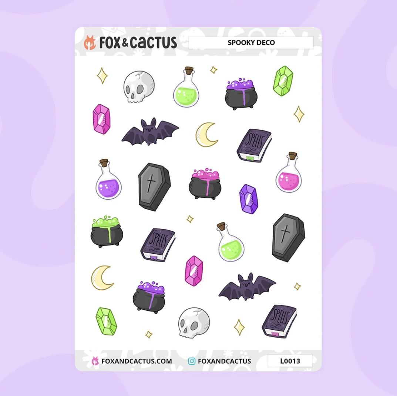 Fox & Cactus | Spooky Deco Stickers