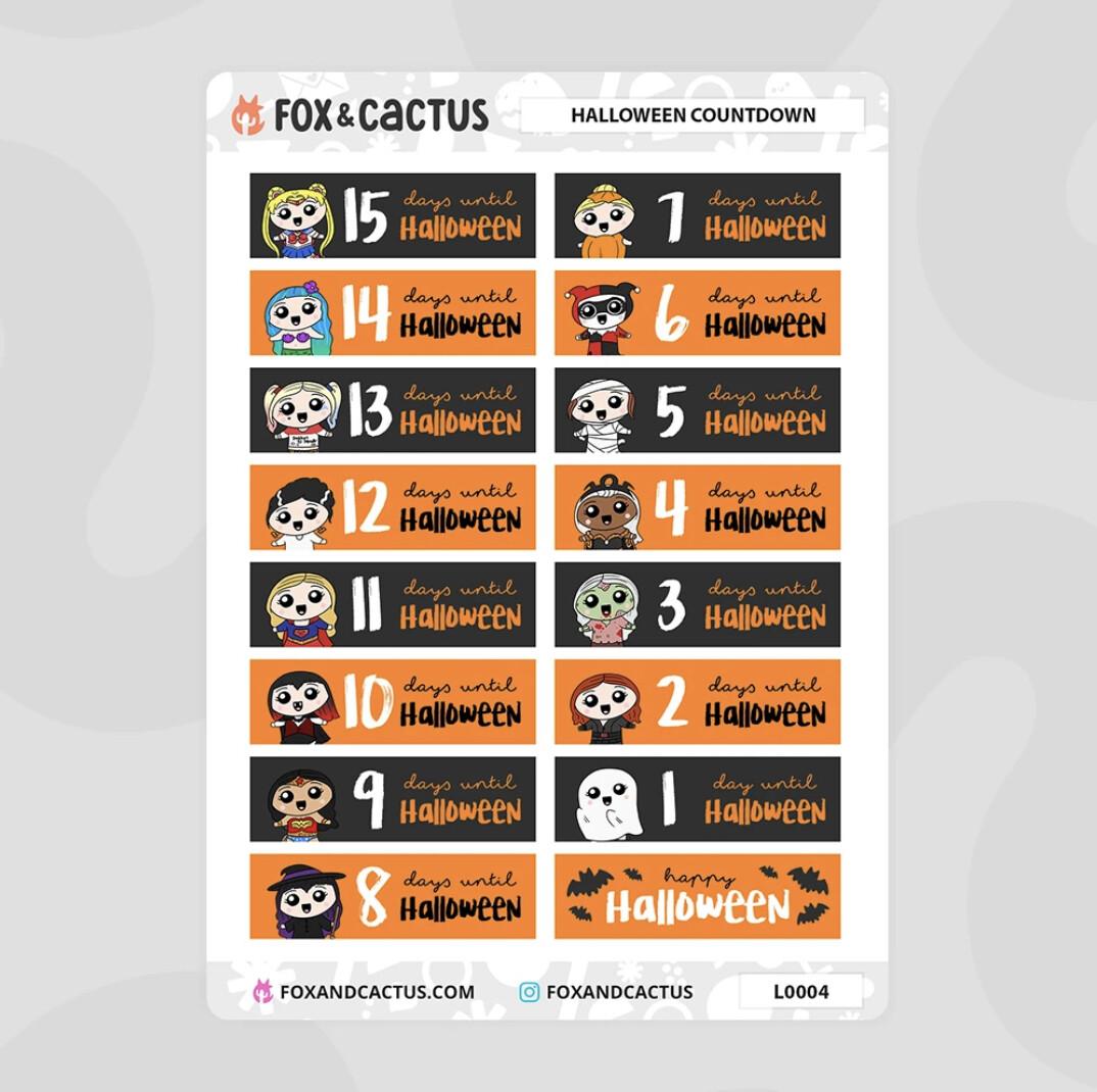 Fox & Cactus | Halloween EC Countdown Stickers