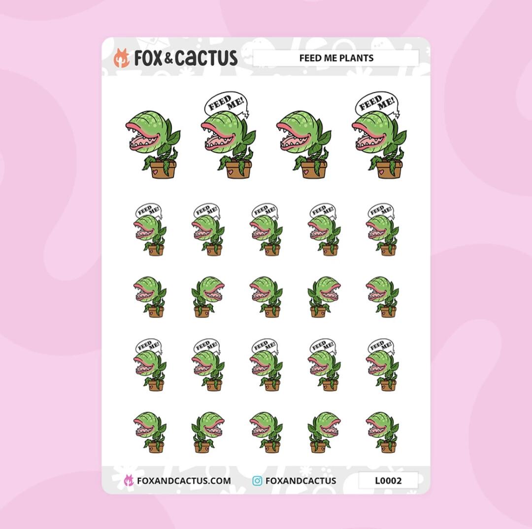 Fox & Cactus   Feed Me Plant Stickers