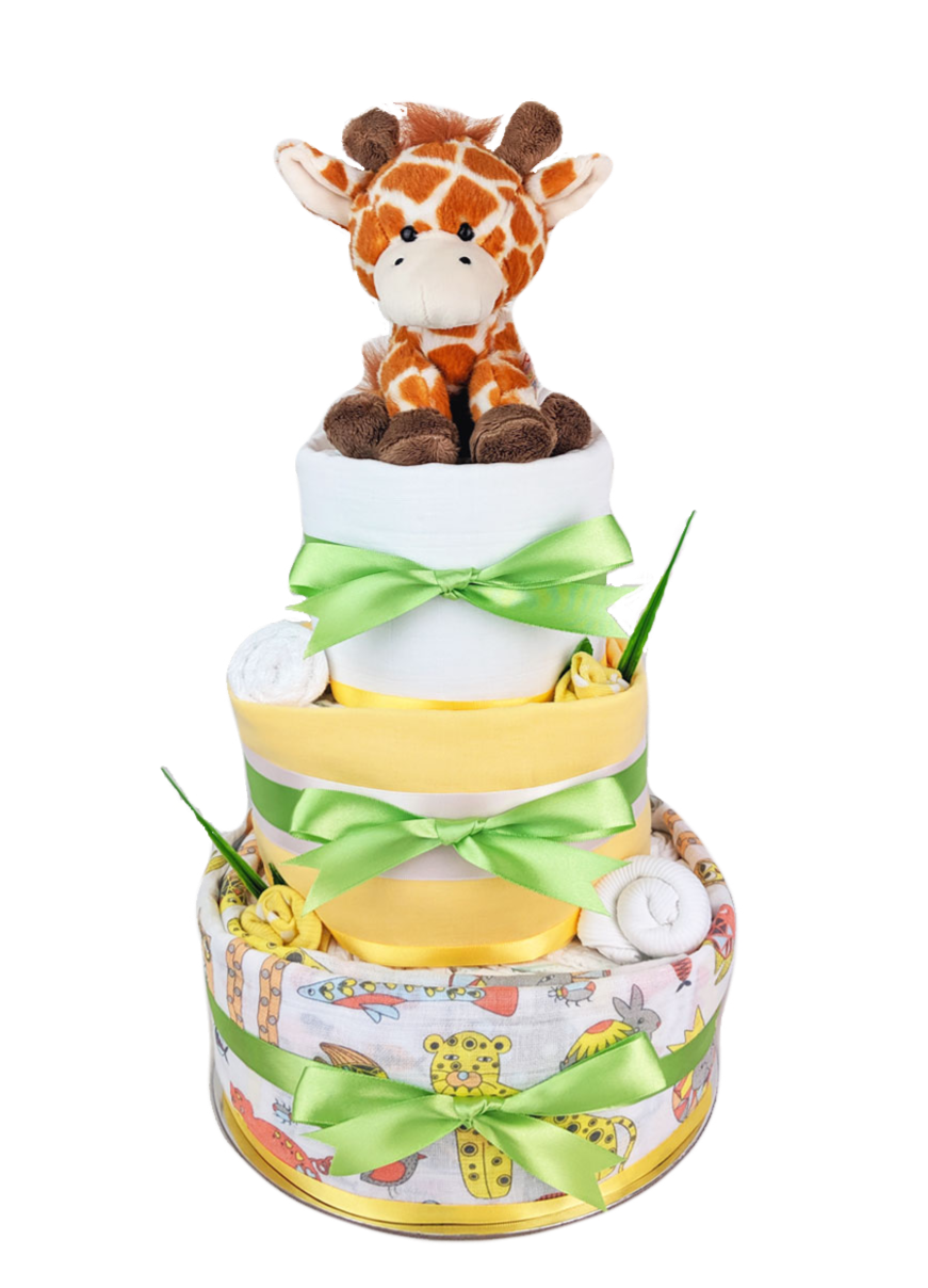 Three Tier Neutral Jungle Nappy Cake