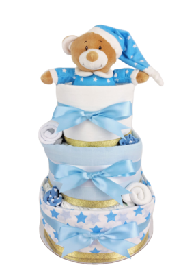 Three Tier Blue & Gold Starbright Nappy Cake