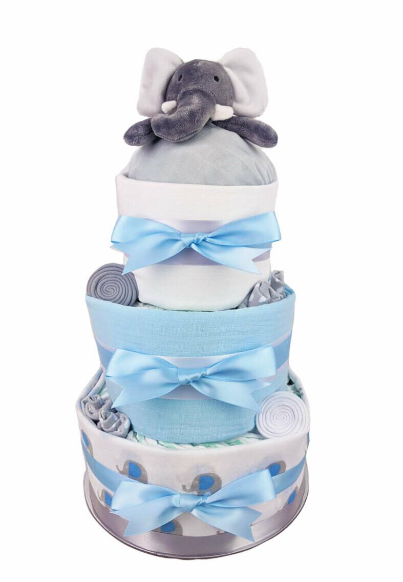 Three Tier Blue Elephant Nappy Cake