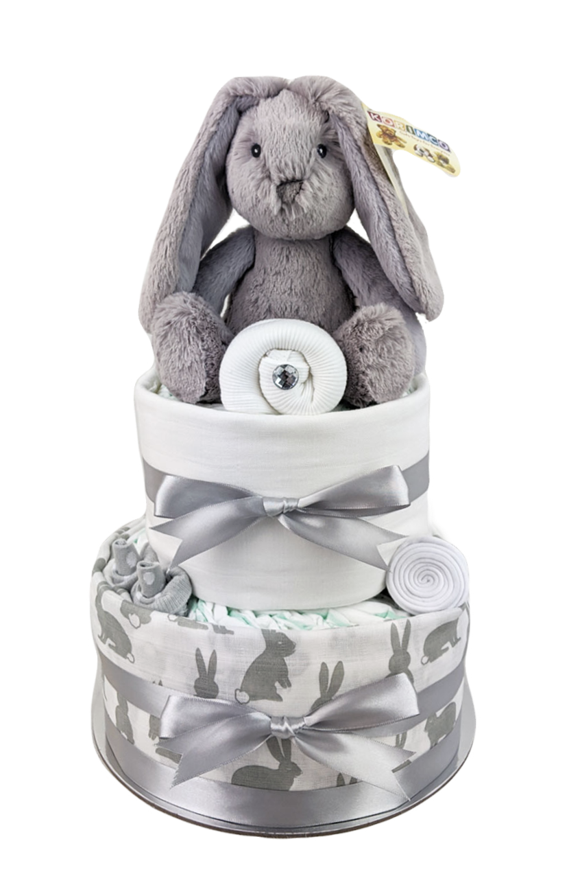 Two Tier Grey Bunny Nappy Cake