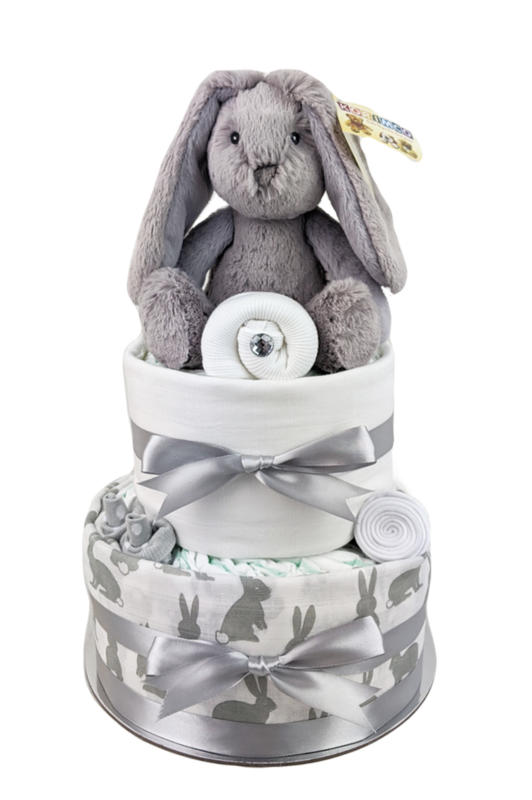 Two Tier Grey Bunny Nappy Cake