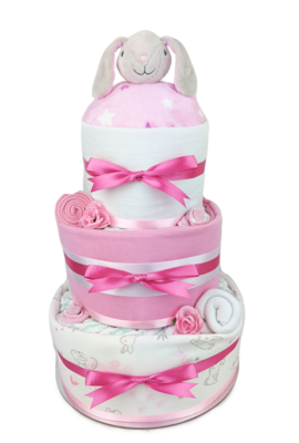 Three Tier Pink Bunny Comforter Nappy Cake