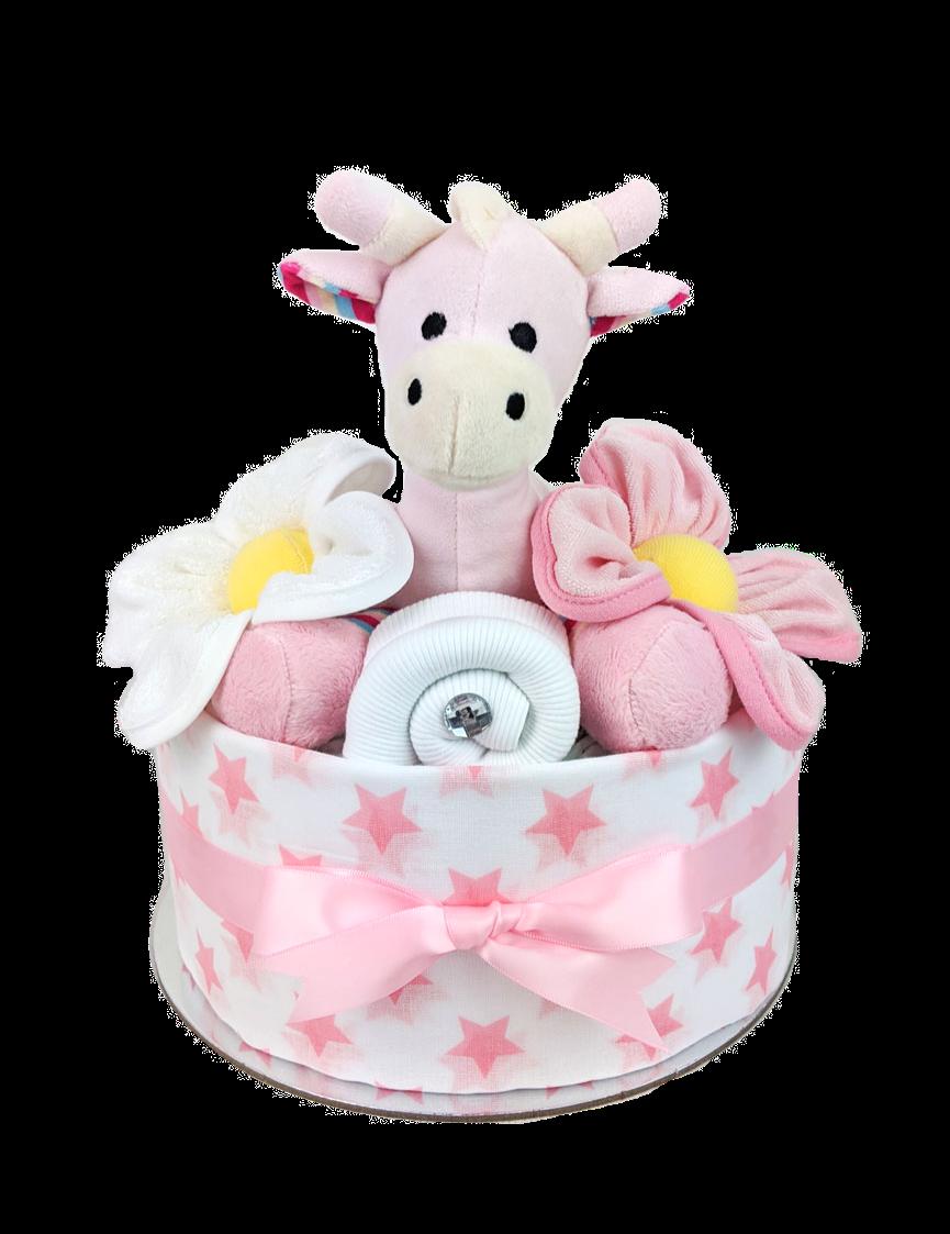 One Tier Pink Giraffe Nappy Cake