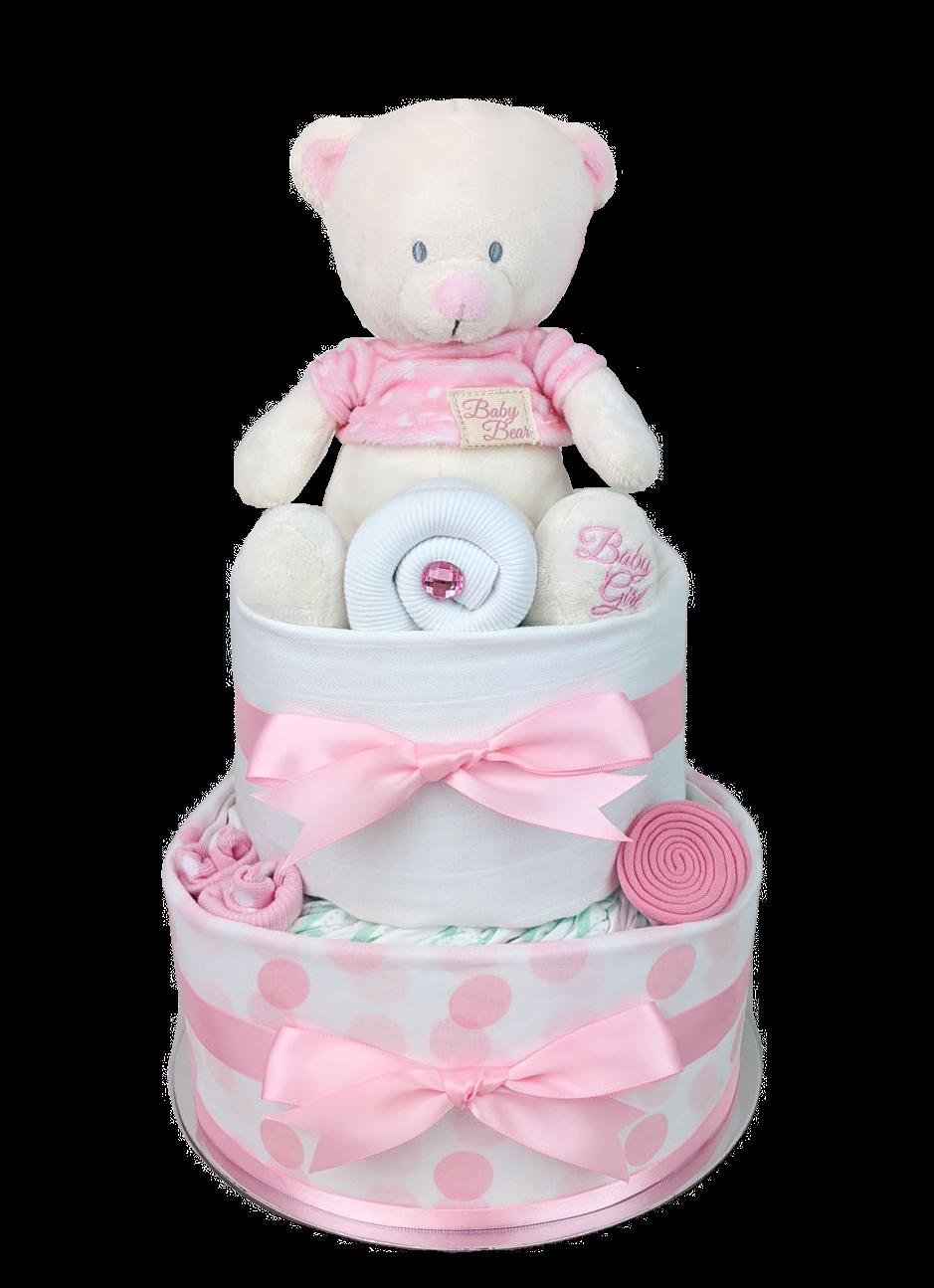 Two Tier Spotty Pink Teddy Bear Nappy Cake