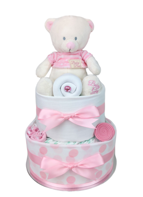 Two Tier Spotty Pink Teddy Bear Nappy Cake