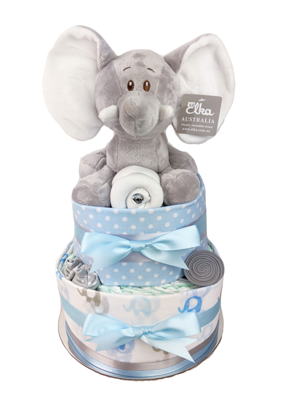 Two Tier Blue Elephant Nappy Cake